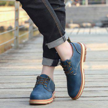 Men Business Casual Fashion Leather Workers Shoes - BLUE 44
