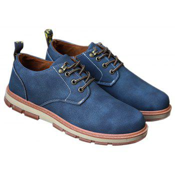 Men Business Casual Fashion Leather Workers Shoes - BLUE 42