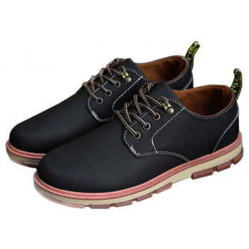 Men Business Casual Fashion Leather Workers Shoes - BLACK 44