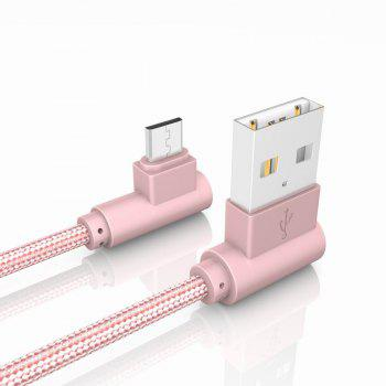 20CM Android Micro Cable Charge for Samsung Xiaomi 90 Degree Cable for MEIZU HTC Huawei - PINK
