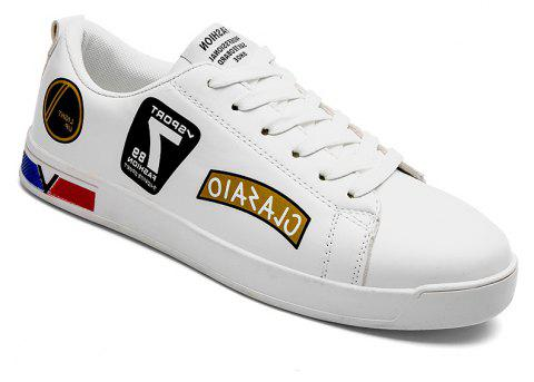 2018 Chaussures style skateboard de style scolaire - Blanc et Or 43