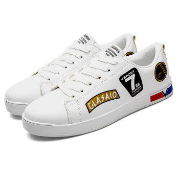 2018 Chaussures style skateboard de style scolaire - Blanc et Or 44