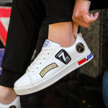 2018 Chaussures style skateboard de style scolaire - Blanc et Or 42