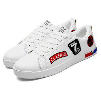 2018 School Style Personality Skateboard Shoes - WHITE/RED 44