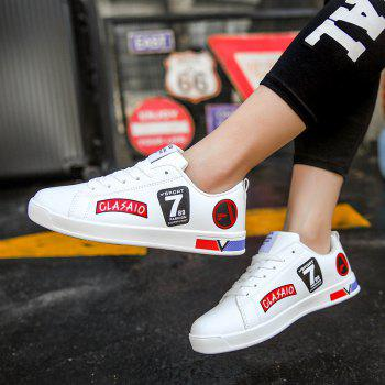 2018 School Style Personality Skateboard Shoes - WHITE/RED 36
