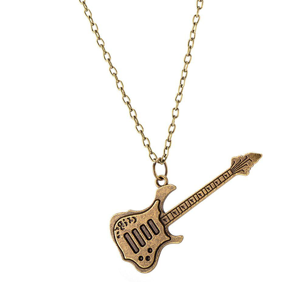 Vintage Punk Style Guitar Shape Alloy Pendant Necklace Charm Jewelry - GOLDEN