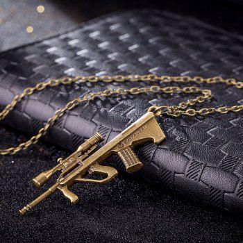 Vintage Punk Style Sniper Rifle Gun Shape Pendant Alloy Necklace Charm Jewelry - GOLDEN