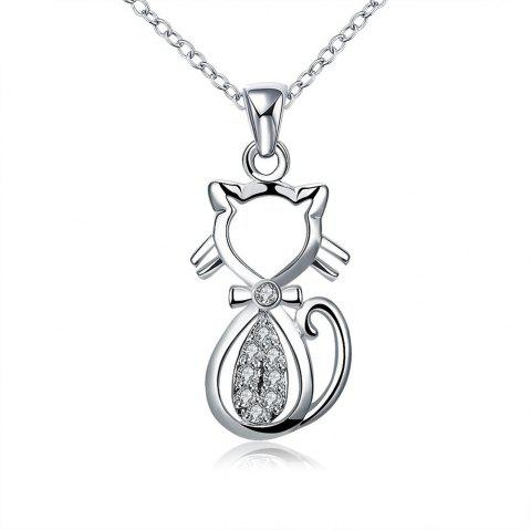 Mode Zircon Lovely Chat Forme Pendentif Collier Charme Bijoux - Argent