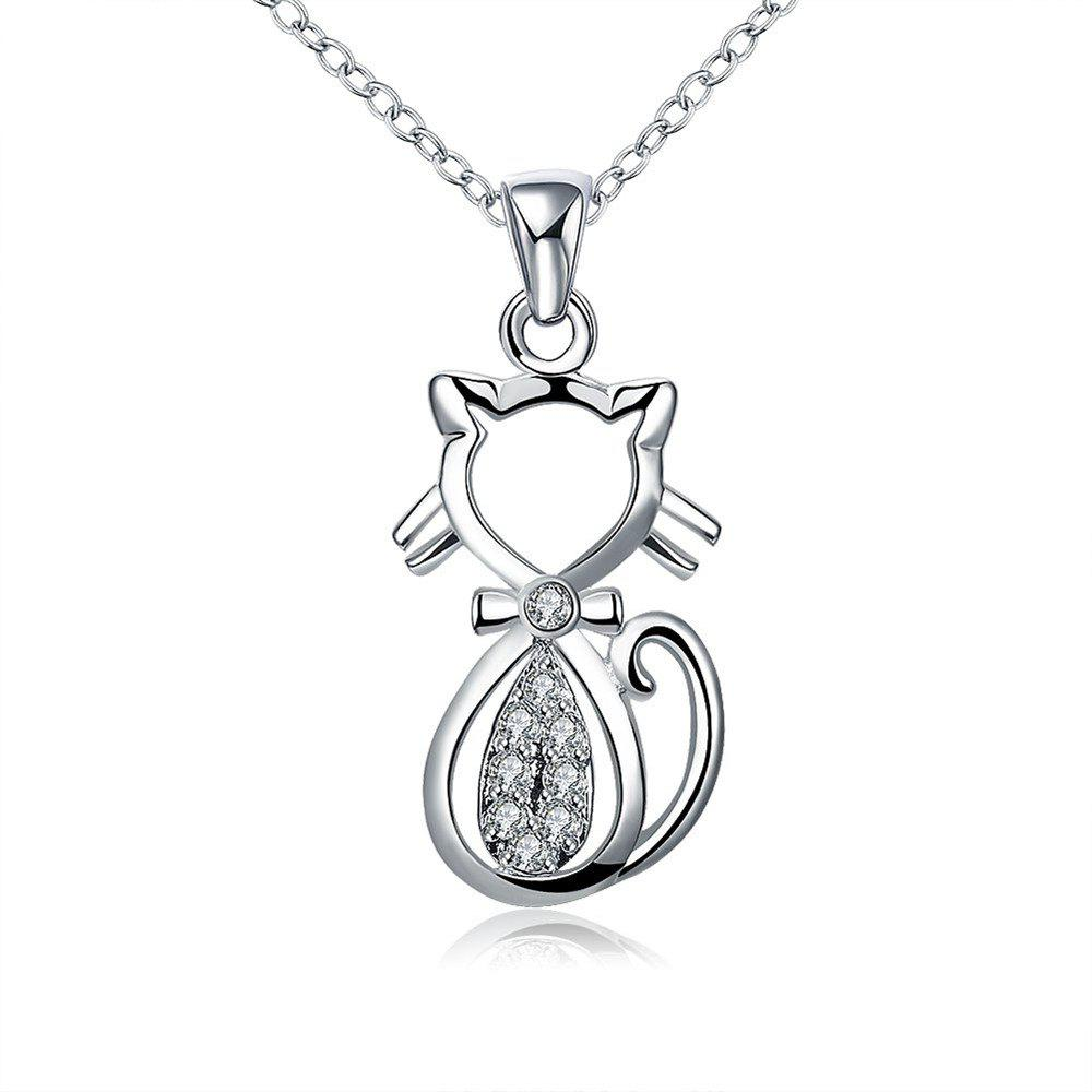 Mode Zircon Lovely Chat Forme Pendentif Collier Charme Bijoux - SILVER