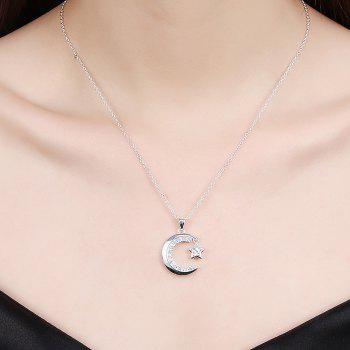 Fashion Moon and Star Zircon Alloy Pendant Necklace Charm Jewelry - SILVER