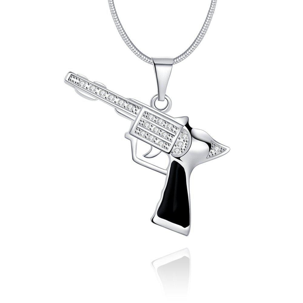 Fashion Pistol Shape Alloy Zircon Pendant Necklace Charm Jewelry - SILVER