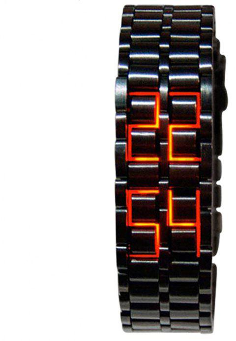 LED Alloy Stylish Creative Watch - BLACK