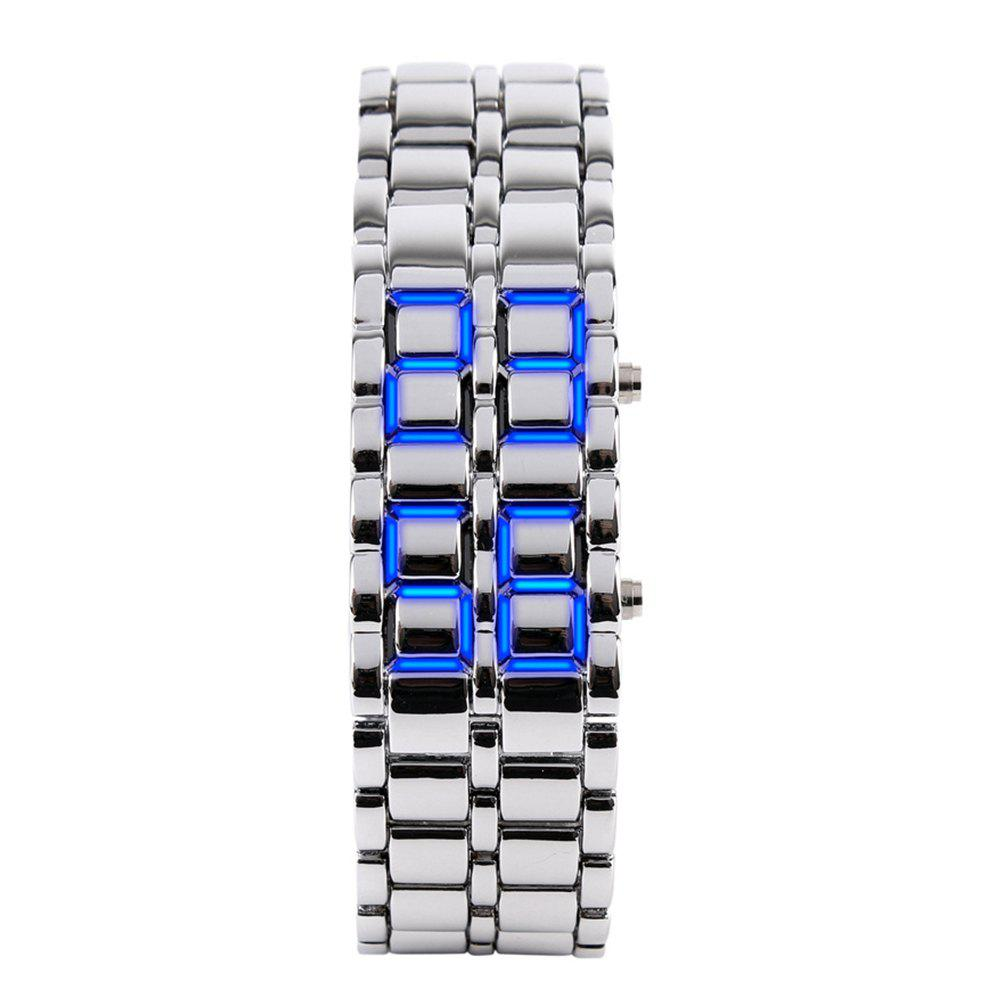 LED Alloy Chain  Men Watch - WHITE