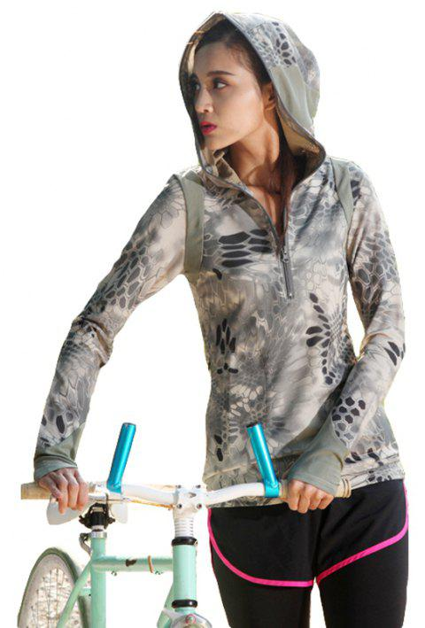 Python Pattern Camouflage Movement Slim Quick Dry Female Models Long Sleeves Hoodies - TERRAIN CAMOUFLAGE L