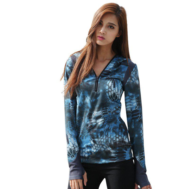 Python Pattern Camouflage Movement Slim Quick Dry Female Models Long Sleeves Hoodies - BLUE CAMOUFLAGE S