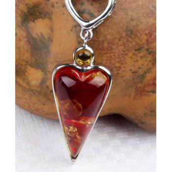 Amber Silver Pendant36103 Gift Jewelry - RED PENDANT: 35X13MM, NECKLACE: 40CM
