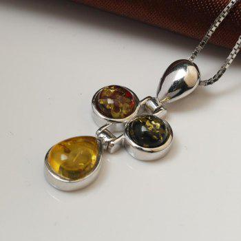 Amber Silver Pendant36109 Gift Jewelry - MAIZE PENDANT: 31X25MM, NECKLACE: 40CM