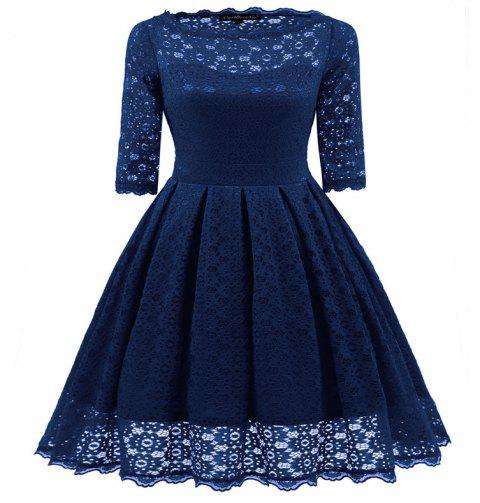 Women's Vintage Floral Half Sleeve Flare Cocktail Party Dress - NAVY BLUE S