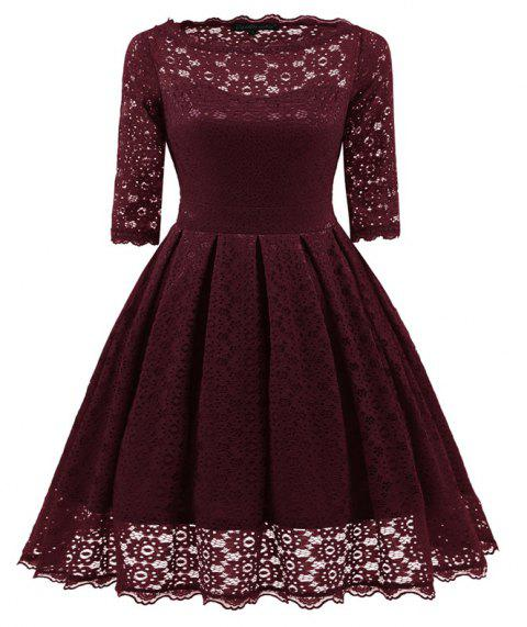 Women's Vintage Floral Half Sleeve Flare Cocktail Party Dress - WINE RED XL