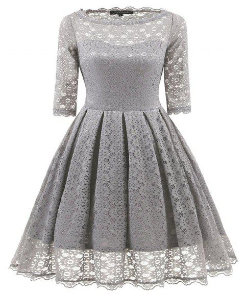 Women's Vintage Floral Half Sleeve Flare Cocktail Party Dress - GRAY 2XL