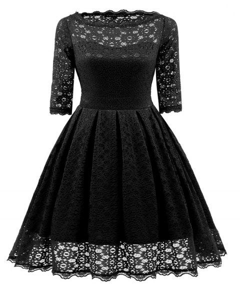 Women's Floral Half Sleeve Flare Cocktail Party Dress - BLACK M