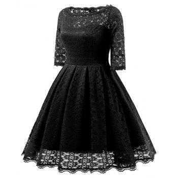 Women's Vintage Floral Half Sleeve Flare Cocktail Party Dress - BLACK XL