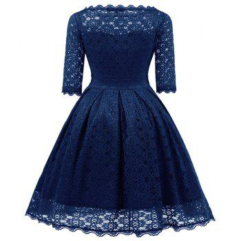 Women's Vintage Floral Half Sleeve Flare Cocktail Party Dress - NAVY BLUE M