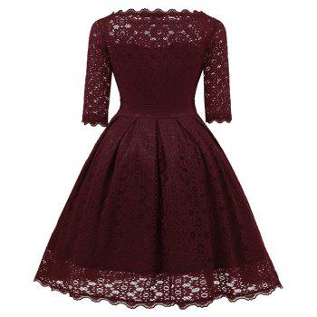 Women's Vintage Floral Half Sleeve Flare Cocktail Party Dress - WINE RED M