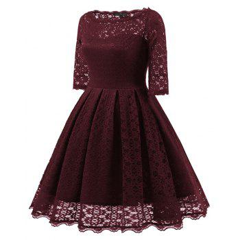 Women's Vintage Floral Half Sleeve Flare Cocktail Party Dress - WINE RED L