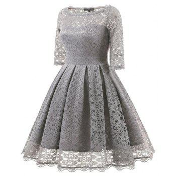 Women's Vintage Floral Half Sleeve Flare Cocktail Party Dress - GRAY L