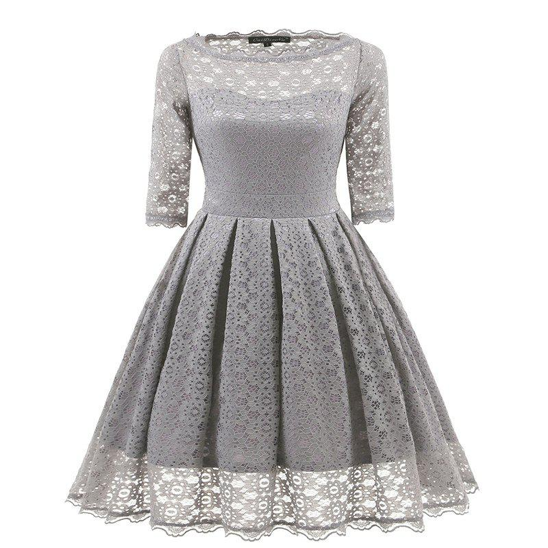 Women's Vintage Floral Half Sleeve Flare Cocktail Party Dress - GRAY M