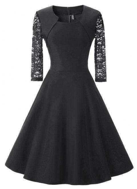 Women's Square Neck Floral Cocktail Swing Dress - BLACK 2XL