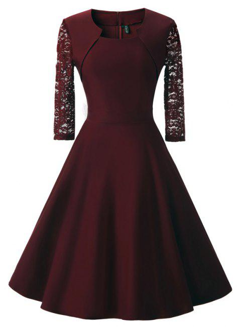 Women's Square Neck Floral Cocktail Swing Dress - WINE RED 2XL