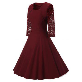 Women's Vintage Square Neck Floral Cocktail Swing Dress - WINE RED M