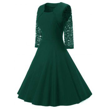 Women's Vintage Square Neck Floral Cocktail Swing Dress - GREEN L
