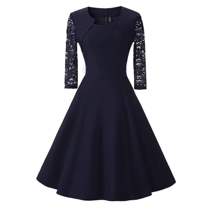 Women's Vintage Square Neck Floral Cocktail Swing Dress - NAVY BLUE S