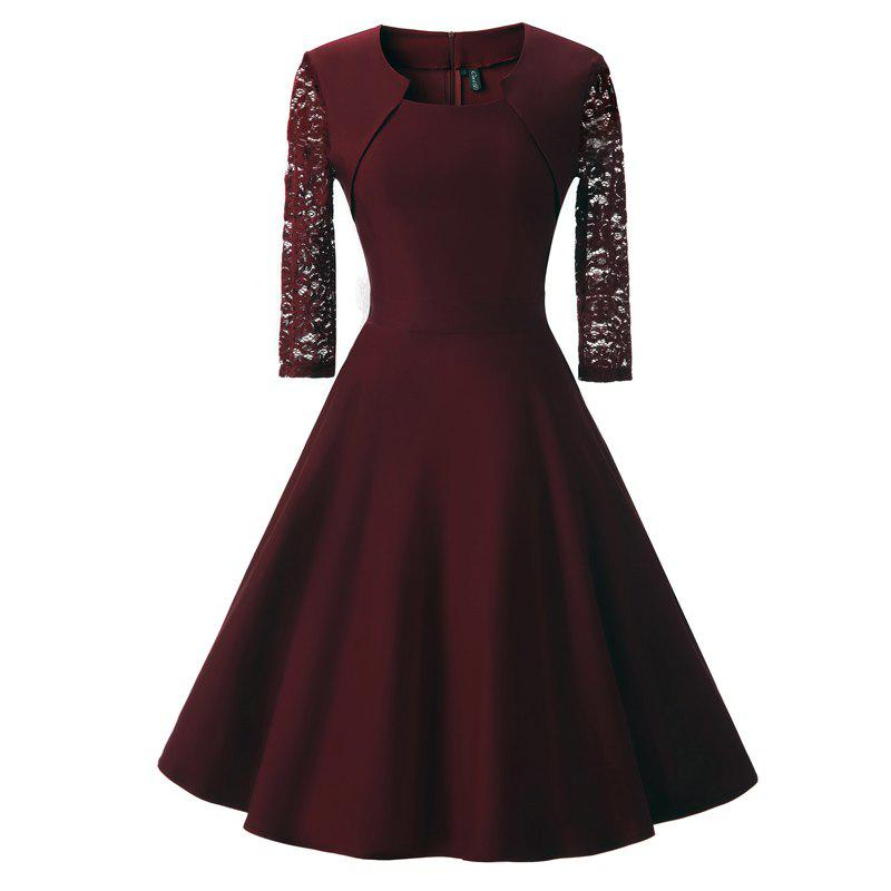 Women's Vintage Square Neck Floral Cocktail Swing Dress - WINE RED L