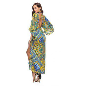 V-Neck Three Quarter Sleeves Printed Women's Dress - YELLOW L