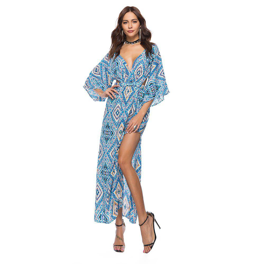 V-Neck Three Quarter Sleeves Printed Women's Dress - BLUE L