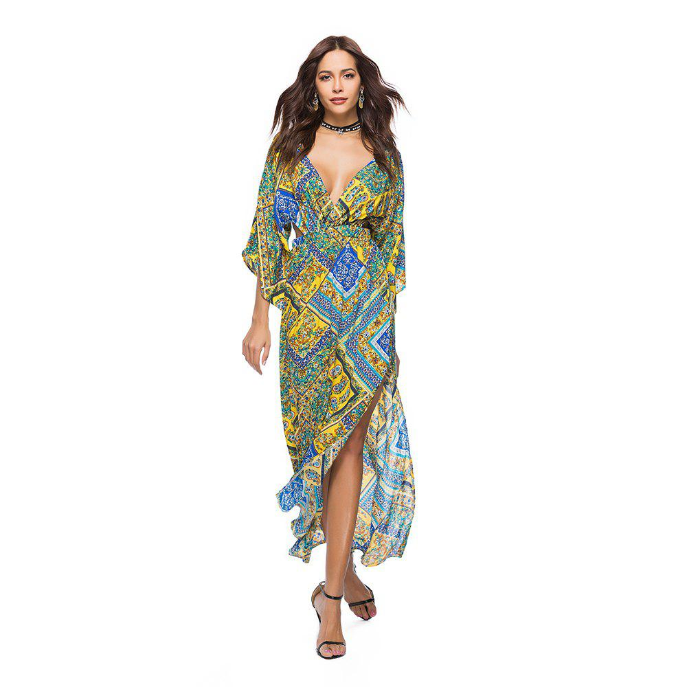 V-Neck Three Quarter Sleeves Printed Women's Dress - YELLOW 2XL