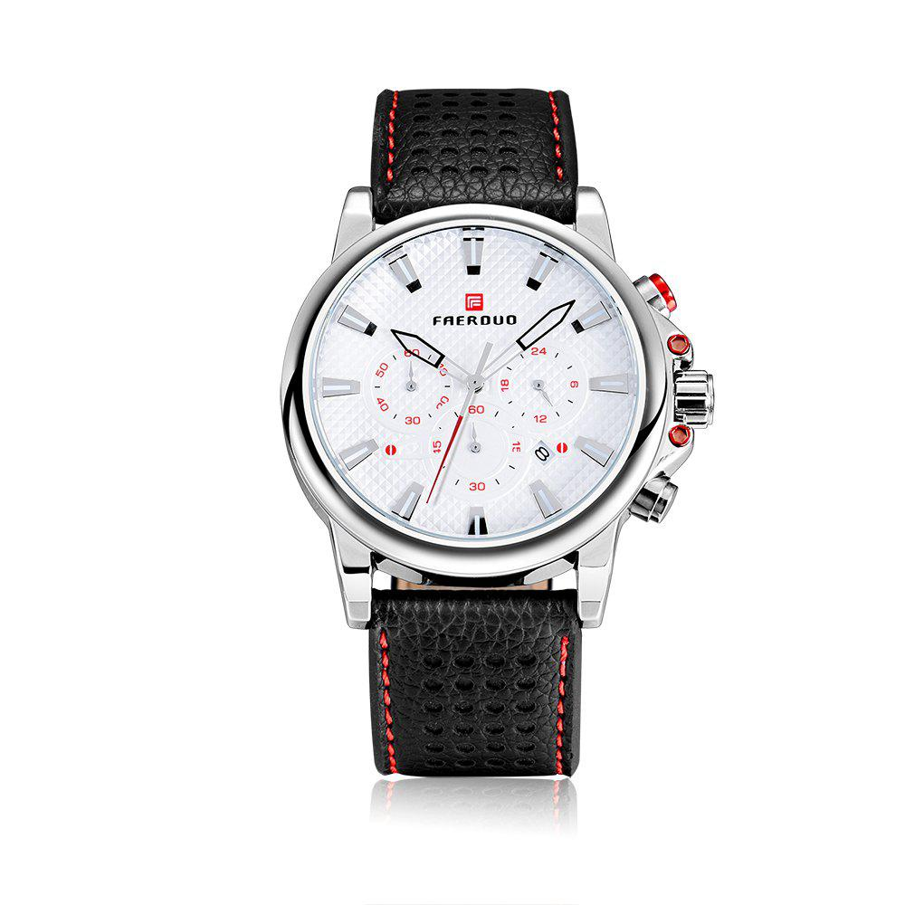 FAERDUO 8215 Mens Leather Strap Quartz Fashion Casual Sport Multifunctional Watches - WHITE