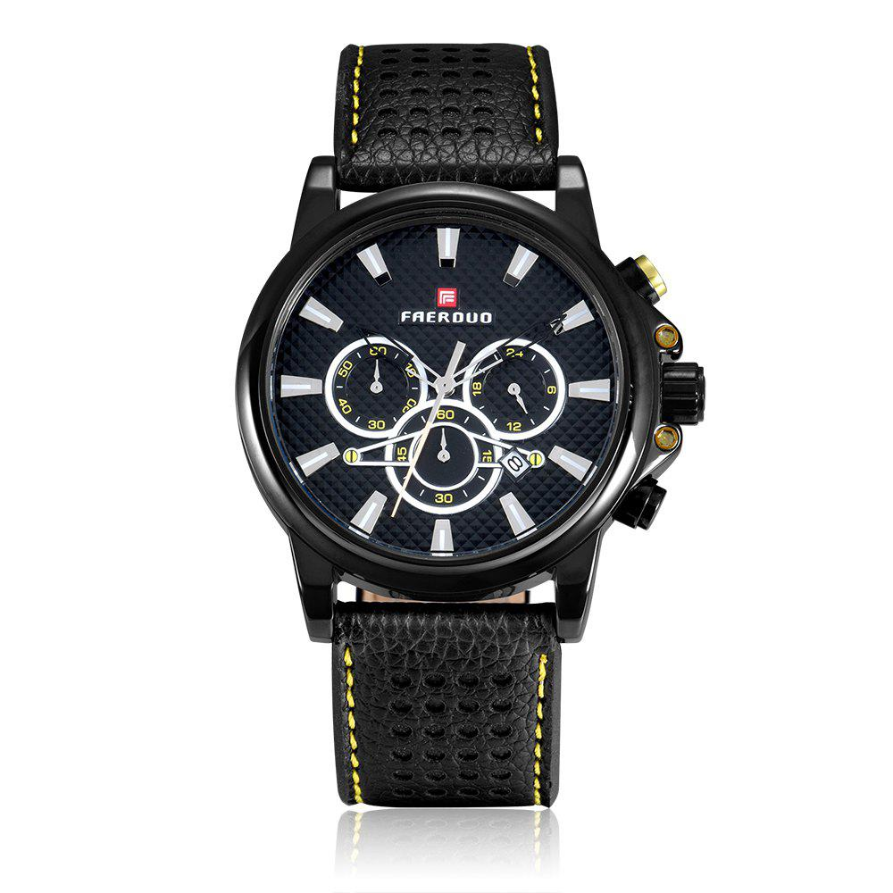 FAERDUO 8215 Mens Leather Strap Quartz Fashion Casual Sport Multifunctional Watches - BLACK