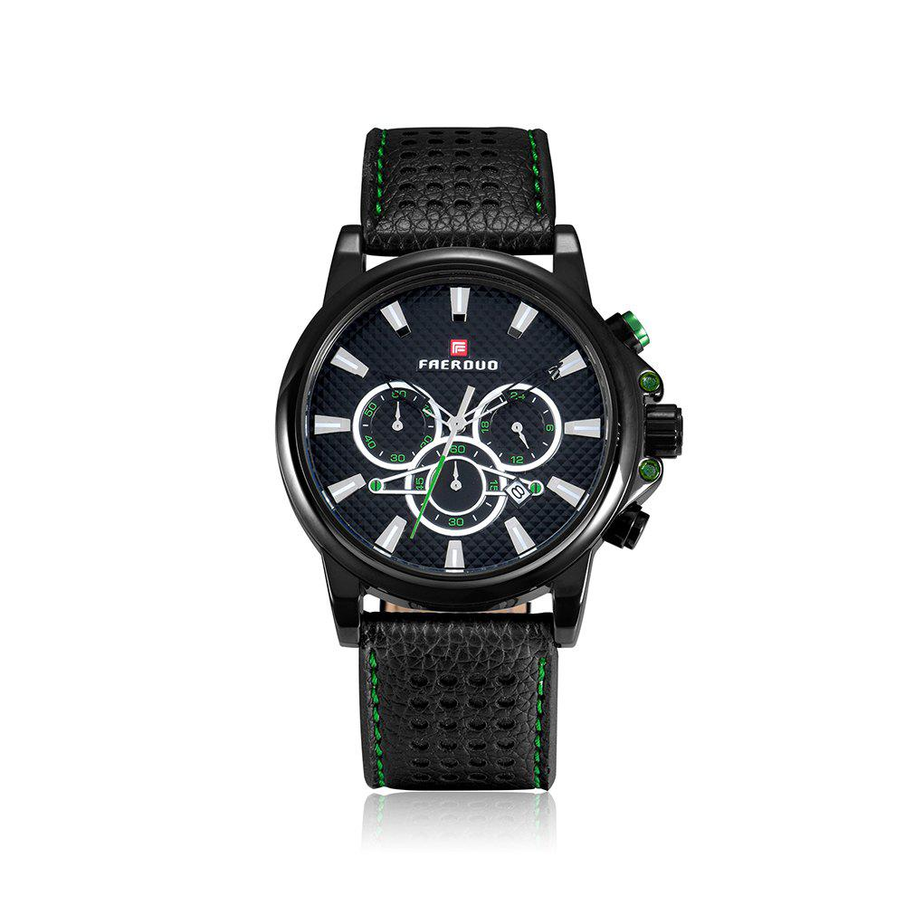 FAERDUO 8215 Mens Leather Strap Quartz Fashion Casual Sport Multifunctional Watches - GREEN