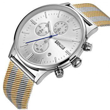 Baogela 1611 Multifunctional Fashion Men Luminous Waterproof Quartz Watch - SILVER/WHITE