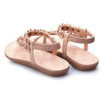 Summer Women Causal Sandals PU Flat Shoes for Girls - BEIGE 37