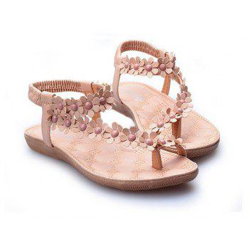 Summer Women Causal Sandals PU Flat Shoes for Girls - BEIGE 35