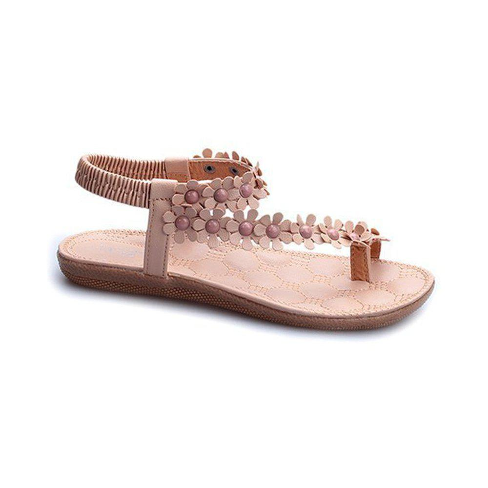 Summer Women Causal Sandals PU Flat Shoes for Girls - BEIGE 38