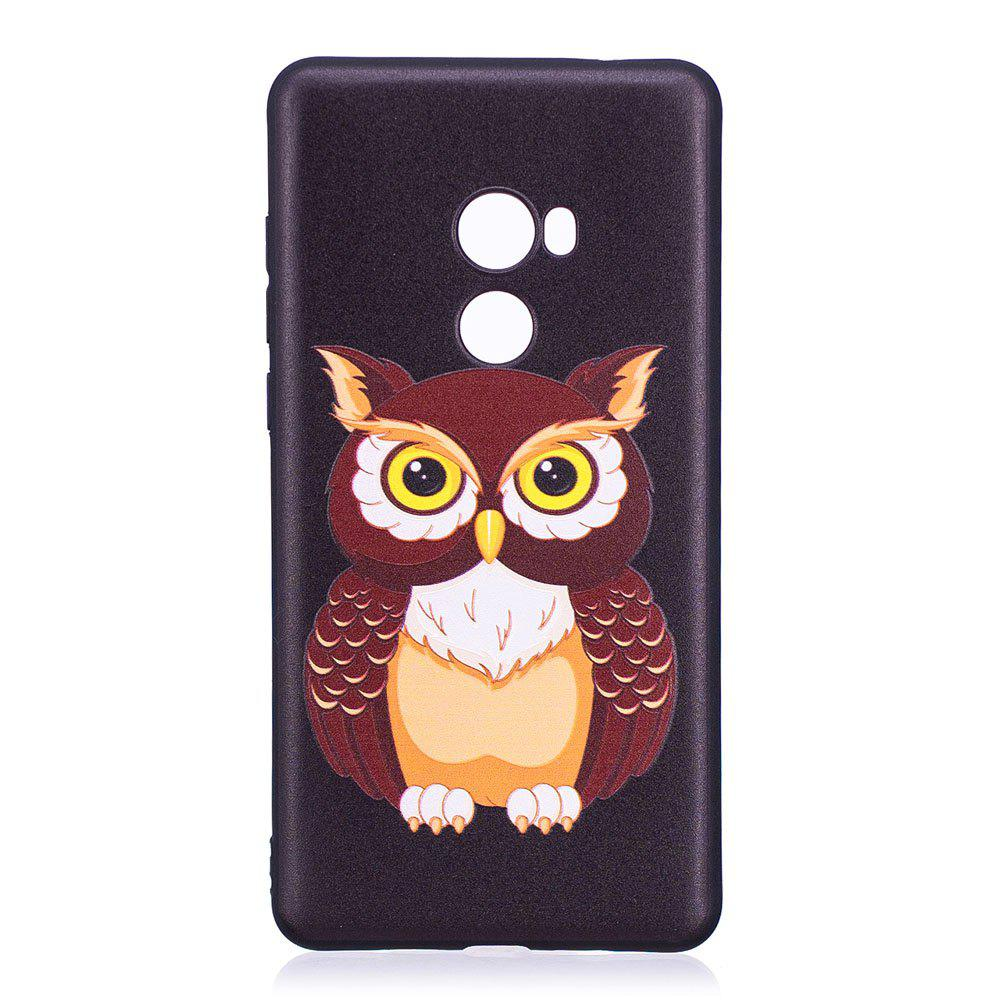 Relief Silicone Case for Xiaomi Mix 2 Owl Pattern Soft TPU Protective Back Cover - BLACK
