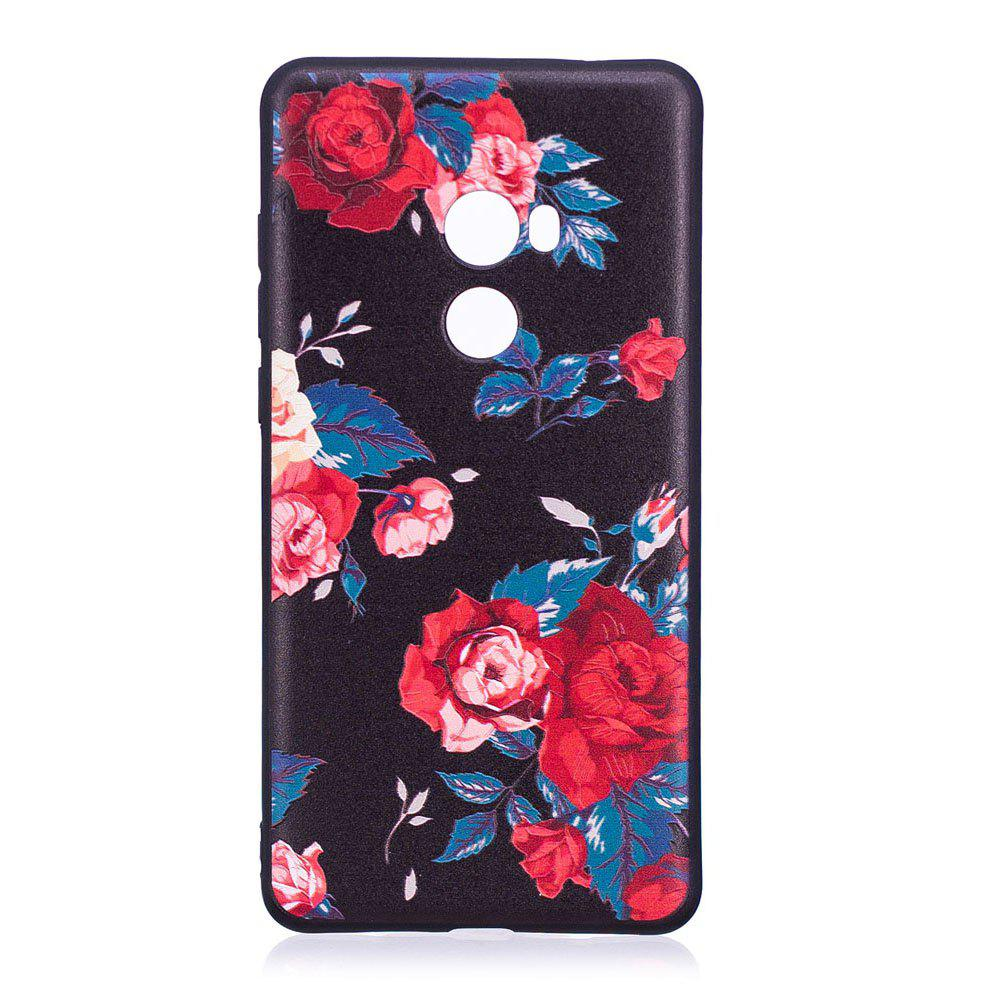 Relief Silicone Case for Xiaomi Mix 2 Red Flowers Pattern Soft TPU Protective Back Cover - RED