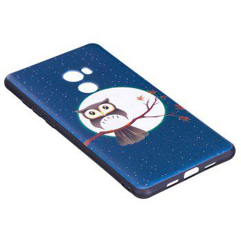 Relief Silicone Case for Xiaomi Mix 2 Moon and Owl Pattern Soft TPU Protective Back Cover - BLUE